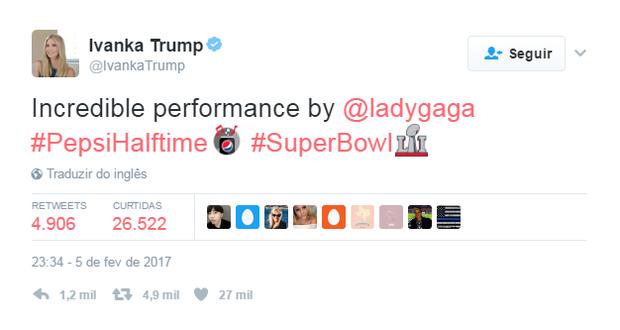Ivanka Trump elogia Lady Gaga (Foto: Reprodução / Twitter)