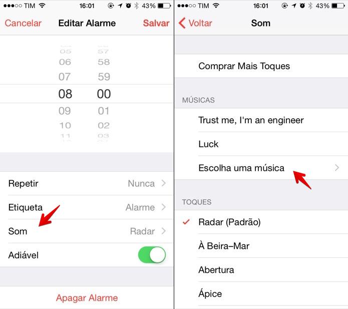 Editando som de alarme do iPhone (Foto: Reprodução/Helito Bijora)