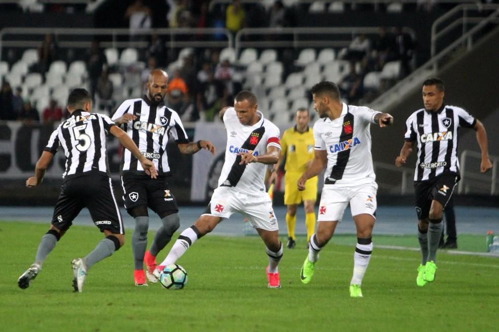 Luis Fabiano, do Vasco, cercado por jogadores do Botafogo, na derrota desta quarta-feira (Foto: Reprodução / twitter)