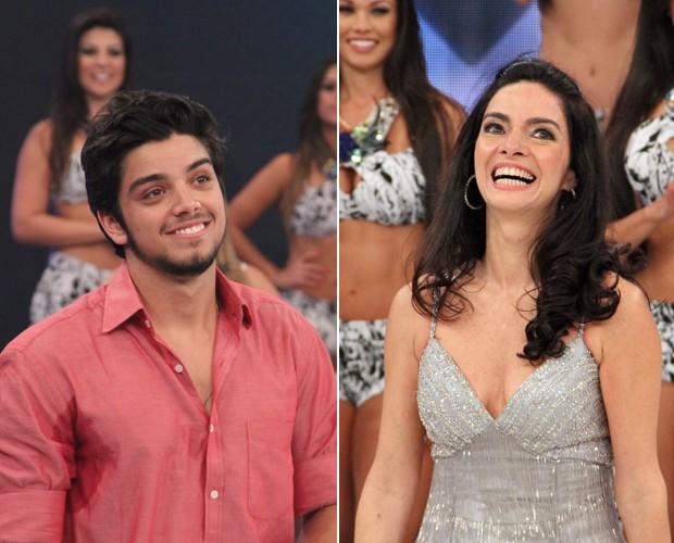 Rodrigo imas e Claudia Ohana no Arquivo Confidencial (Foto: Domingão do Faustão/ TV Globo)