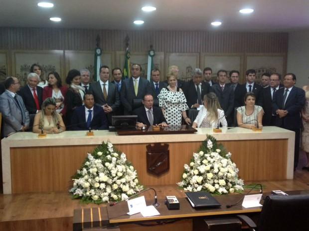 Cerimônia de posse dos 29 vereadores de Natal aconteceu neste domingo (1º) (Foto: Fabiano de Oliveira/G1)