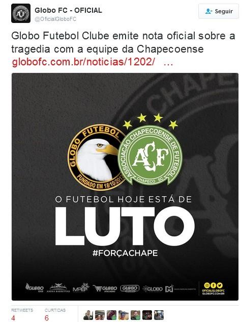 Globo FC - Nota de pesar - acidente da Chapecoense (Foto: Reprodução)
