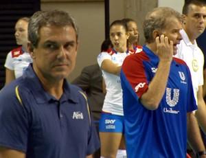 Zé Roberto e Bernardinho, no encontro durante partida entre Campinas e Rio de Janeiro (Foto: Carlos Velardi / EPTV)
