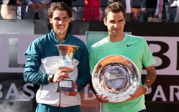 ...e oito anos depois, em 2013, na Itália Rafael Nadal Roger Federer (Foto: Getty Images)