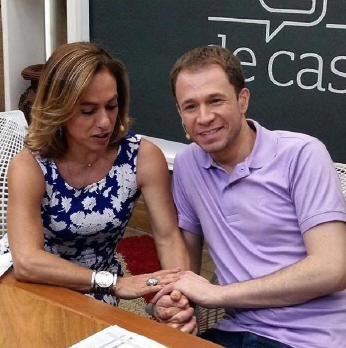 Cissa Guimarães e Tiago nos bastidores do É de Casa (Foto: Arquivo Pessoal)