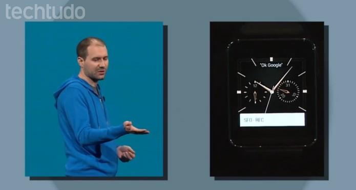 O LG G Watch, com o projeto do Android L (Foto: Reprodução / Google)