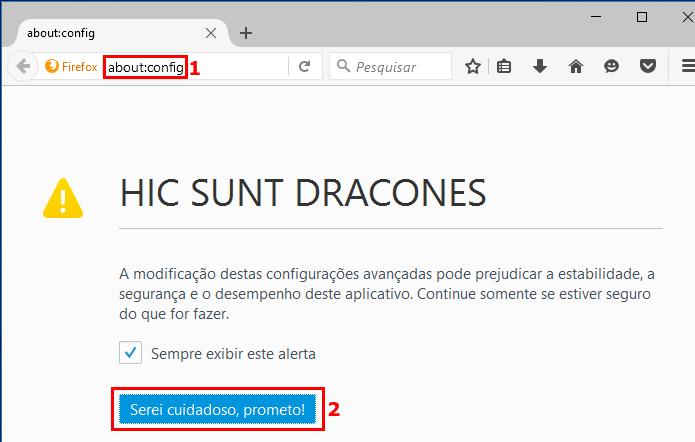 Acessando as configurações avançadas do Firefox (Foto: Reprodução/Edivaldo Brito)