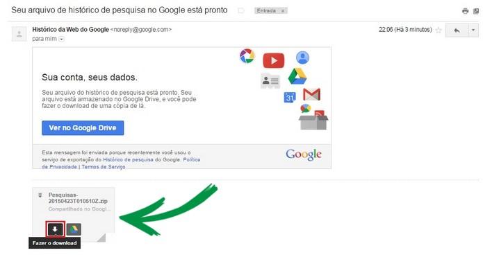 E-mail com link para download das pesquisas do Google em destaque (Foto: Reprodução/ Raquel Freire)