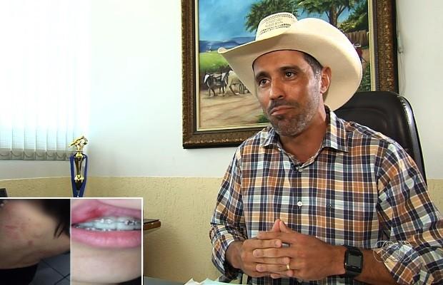 Após surra, prefeito de Piracanjuba, Goiás diz que filha está de castigo e sem celular: 'Clima ruim' (Foto: Reprodução/TV Anhanguera)