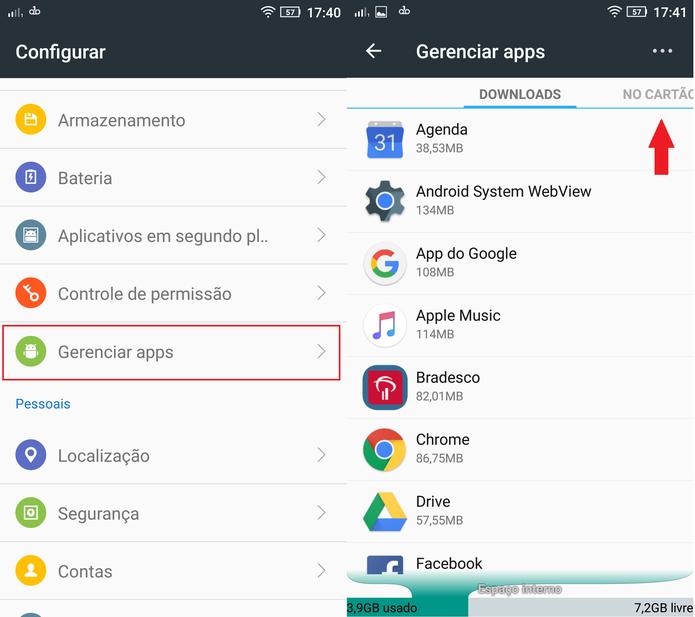 """Nas configurações do Android, vá até """"Gerenciar apps"""" (Foto: Reprodução/Caio Bersot)"""