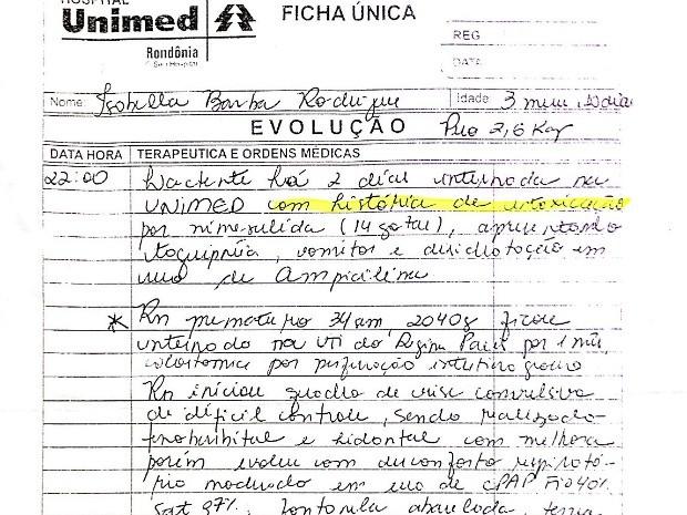 Médico atestou intoxicação por nimesulina em prontuário (Foto: Vanessa Vasconcelos/G1)