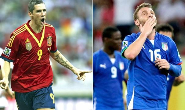 Atual campeã do mundo, a Espanha enfrenta a Itália na semifinal da Copa das Confederações, no dia 27 (Foto: AFP e Reuters)