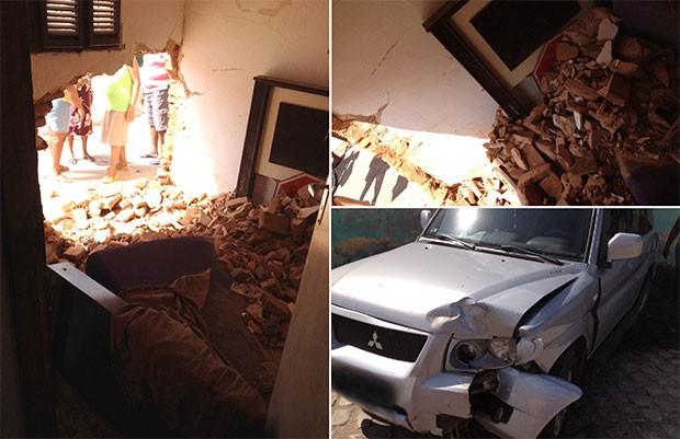 Parte da parede do quarto do estudante caiu com a batida da caminhonete (Foto: Joaquim Rocha)