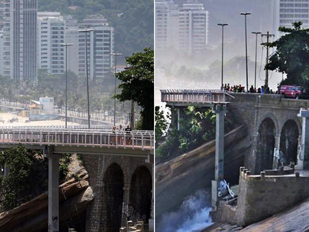 Antes e depois da ciclovia Tim Maia, na Avenida Niemeyer (Foto: Fábio Motta/Estadão Conteúdo)