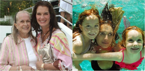 Brooke Shields e sua mãe, Teri Shields, e com as filhas Rowan Francis, 12 anos, e Grier Hammond, de 9 anos (Foto: Reprodução do Instagram)