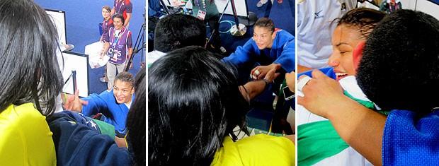 MONTAGEM - Encontro sarah menezes com o treinador (Foto: Cahê Mota / Globoesporte.com)