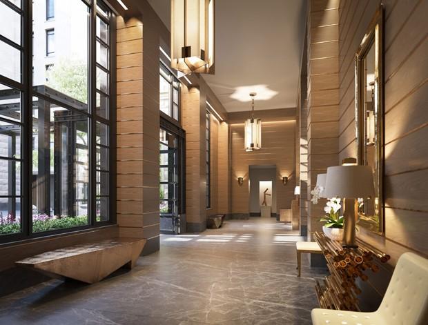 Lobby do 70 Vestry, prédio de luxo em Nova York (Foto: Divulgação/Related)
