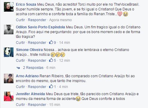 Fãs de Renan Ribeiro o comparam à Cristiano Araújo (Foto: Reprodução/ Facebook)