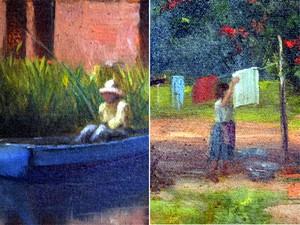 Detalhe da obra mostra representação do pai pescando no barco e da mãe estendendo roupa (Foto: Fernanda Testa/G1)