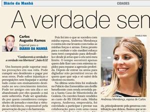 Carlinhos Cachoeira publica artigo em defesa da mulher Andressa Mendonça e ataca o governo de Goiás (Foto: Reprodução/Diário da Manhã)