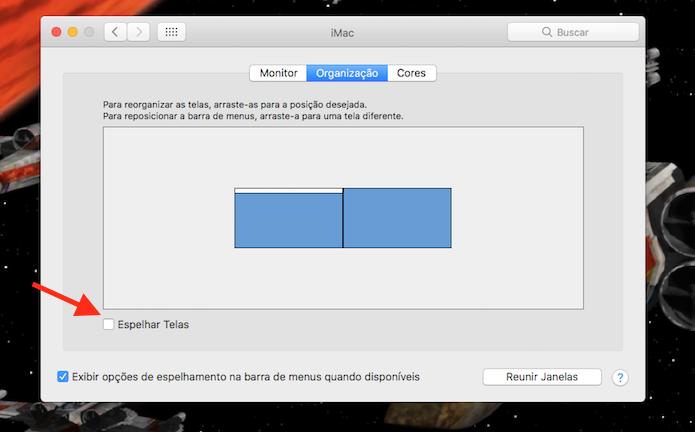 Opção para espelhar a tela do Mac em um segundo monitor (Foto: Reprodução/Marvin Costa)