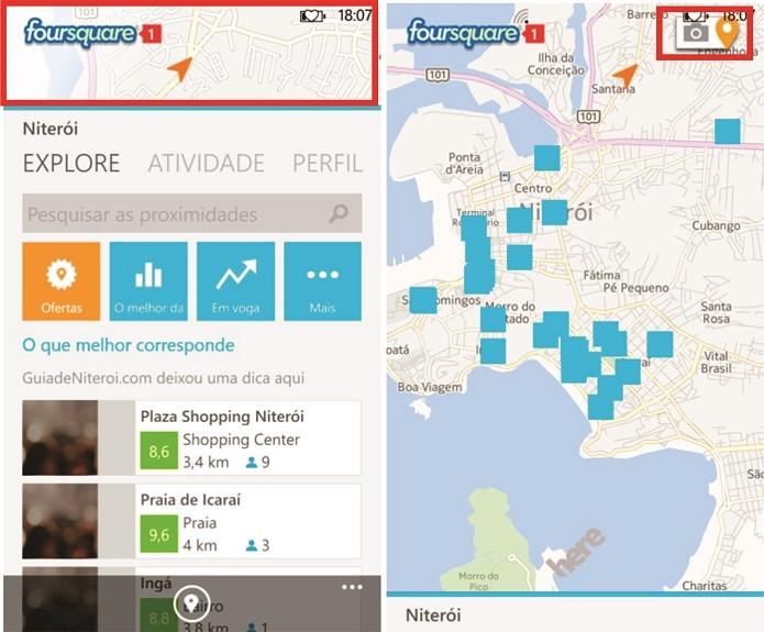 Realidade aumentada do Foursquare para Windows Phone pode ser acessada na tela inicial do aplicativo (Foto: Reprodução/Elson de Souza)