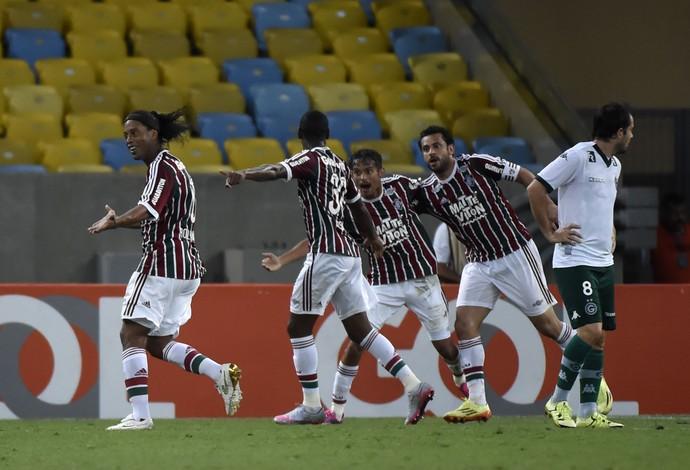 Ronaldinho Gaúcho Fred comemoração Fluminense x Goiás (Foto: André Durão)