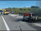 Acidente entre três veículos interdita trânsito na Fernão Dias, em Careaçu