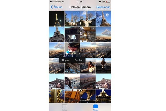 No iOS 8 é possível ocultar fotos sem precisar apagá-las (Reprodução/ Gabriella Fiszman)