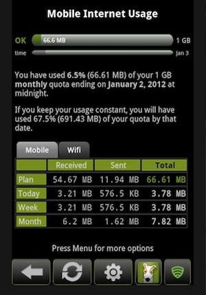 3G Watchdog registra o consumo de dados de internet e Wi-Fi do celular. (Foto: Reprodução)