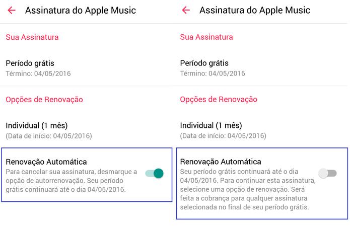 Desmarque a opção de renovação automática da assinatura do Apple Music (Reprodução/Carol Danelli)