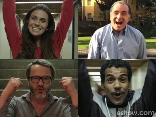 Giovanna Antonelli, Tony Ramos, Leonardo Medeiros e Macello Mello Jr mandaram sua 'ola' para Seleção (Foto: Geração Brasil / TV Globo)