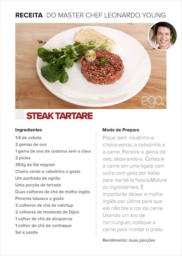 Receita de Steak tartare do Masterchef Leonardo Young (Foto: Sandy Bahia/EGO)