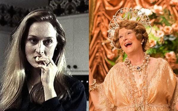 Meryl Streep em 'Temporada Mortal' (1977) e 'Florence: Quem é Essa Mulher?' (2016) (Foto: Divulgação)
