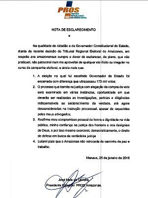 Nota de esclarecimento divulgada pelo partido de José Melo (Foto: Reprodução)