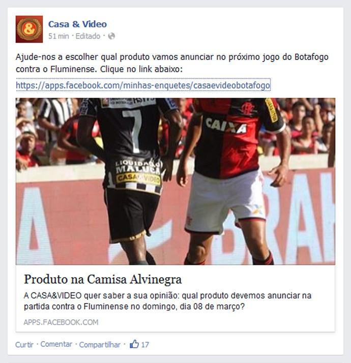 Anuncio camisa Botafogo Casa & Vídeo