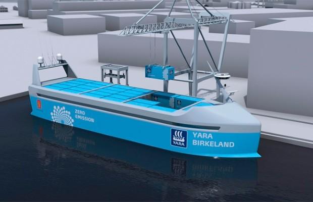 Projeção do primeiro navio elétrico autônomo, da Yara International ASA (Foto: Yara Internacional ASA)