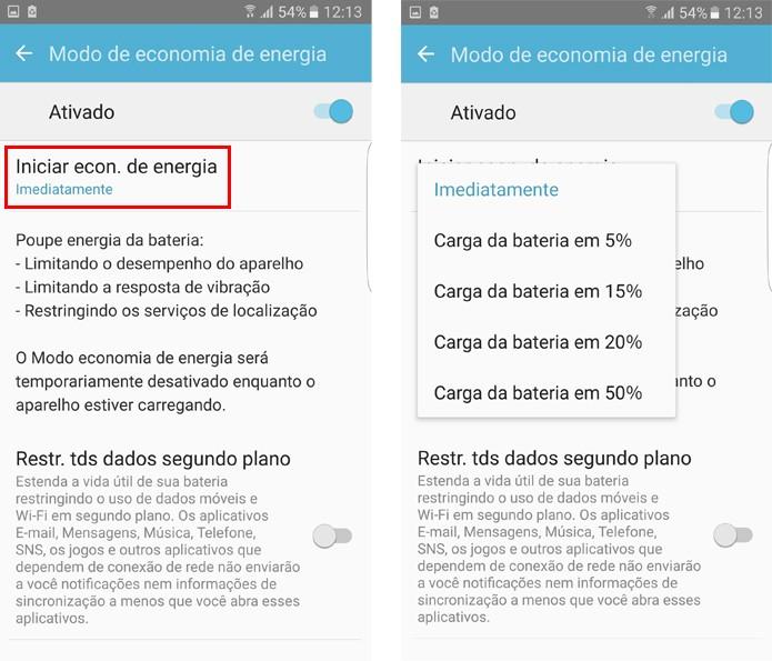 Defina em qual momento o Galaxy S7 vai ativar a economia de energia (Foto: Reprodução/Aline Batista)