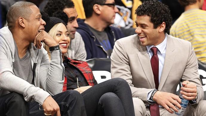 Russell Wilson Jay-Z Beyoncé Brooklyn Nets NBA (Foto: Agência AP)