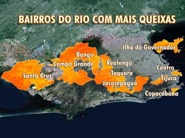 Veja os bairros do Rio com mais queixas de barulhos (Foto: Editoria de Arte / TV Globo)