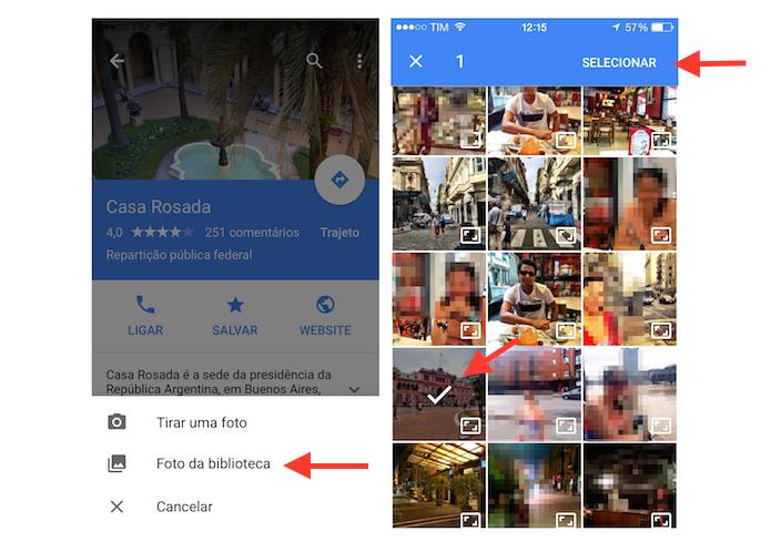 Selecionando uma foto da biblioteca do iPhone para enviá-la para o Google Maps (Foto: Reprodução/Marvin Costa)