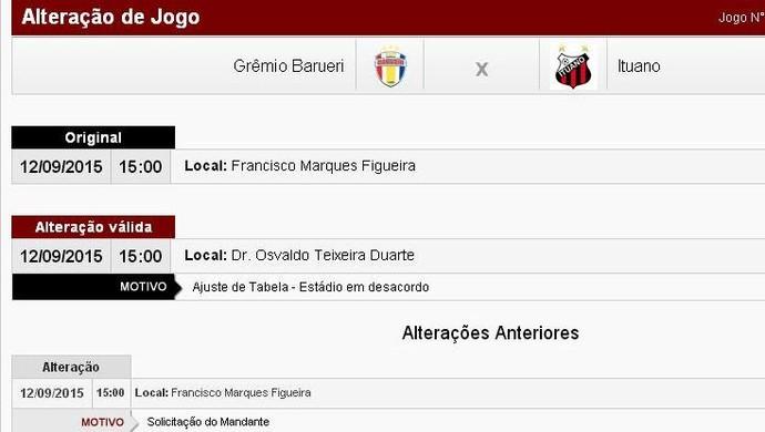 Grêmio Barueri x Ituano - alteração jogo da Copa Paulista (Foto: Reprodução/ Site FPF)