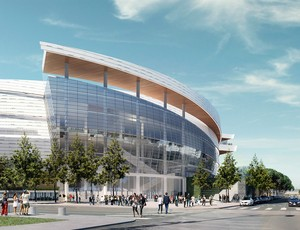 Uma das fachadas do novo ginásio do Golden State Warriors (Foto: Divulgação)
