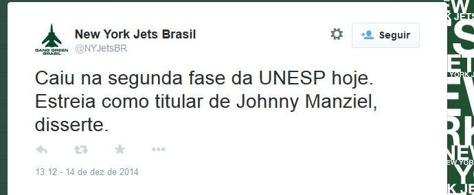 Perfis nas redes sociais brincaram com a atuação de Johnny Football (Foto: Reprodução/Twitter)