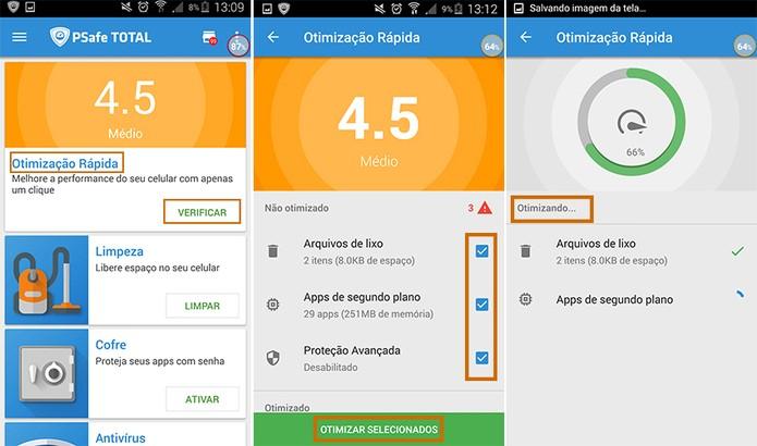 Faça uma otimização rápida no Android com app PSafe Total (Foto: Reprodução/Barbara Mannara)