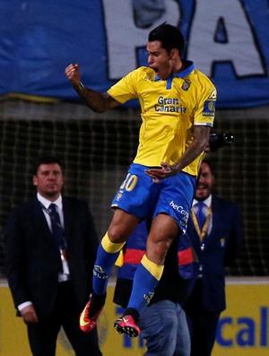 Araujo comemora gol pelo Las Palmas contra o Real Madrid (Foto: Juan Medina/Reuters)