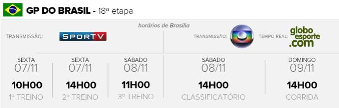 INFO - Horário GP do Brasil F1 (Foto: Editoria de Arte)