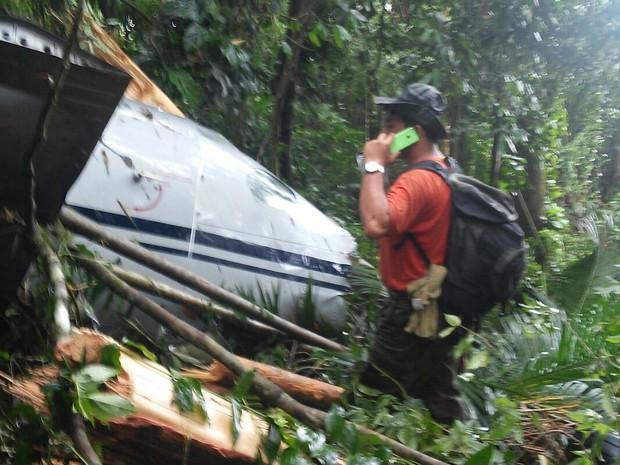 Destroços do avião que caiu em Paraty, na Costa Verde do Rio (Foto: Sandro Soares/Arquivo Pessoal)