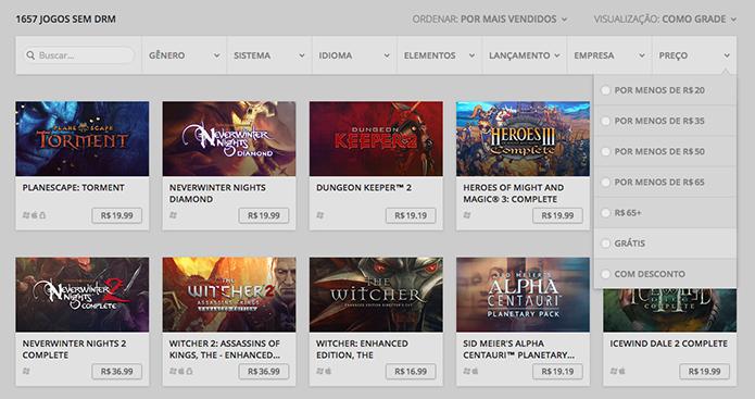 Selecione os jogos gratuitos do GOG (Foto: Reprodução/Murilo Molina)