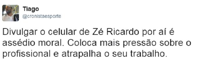 Torcedor critica vazamento de celular de Zé Ricardo (Foto: Reprodução)